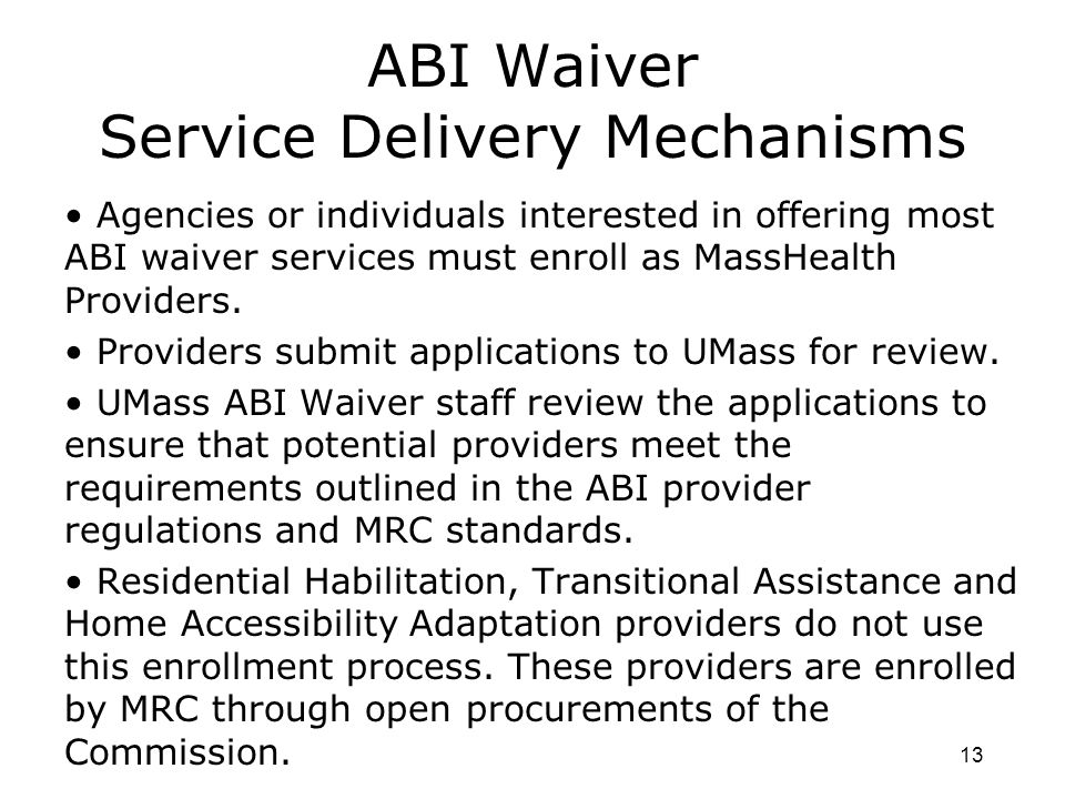 ABI Waiver Service Delivery Mechanisms