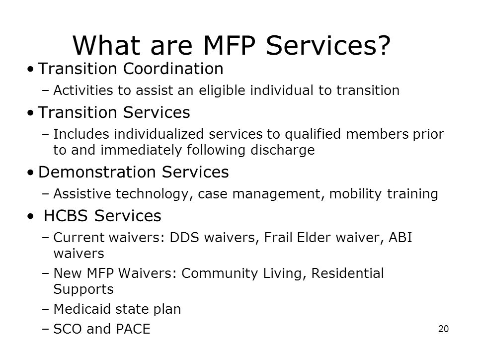 What are MFP Services Transition Coordination Transition Services