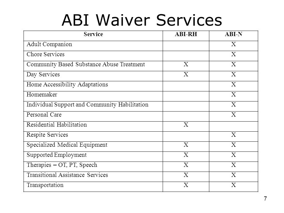 ABI Waiver Services Service ABI-RH ABI-N Adult Companion X