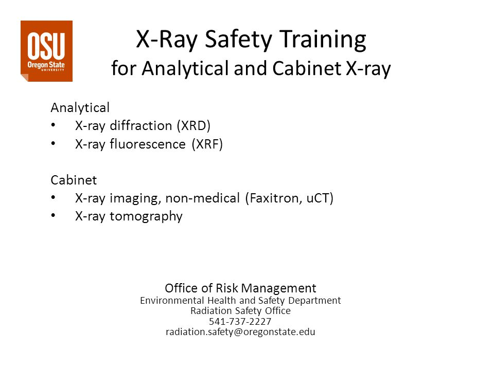 X-Ray Safety Training for Analytical and Cabinet X-ray