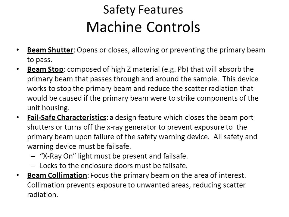 Safety Features Machine Controls