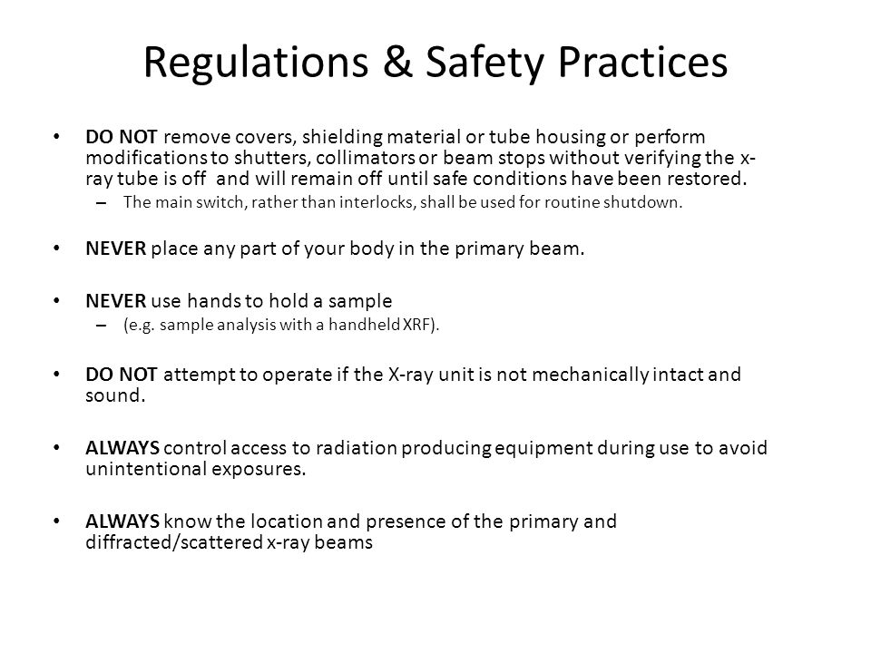 Regulations & Safety Practices