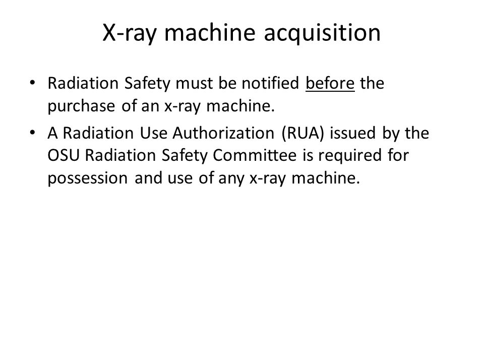 X-ray machine acquisition
