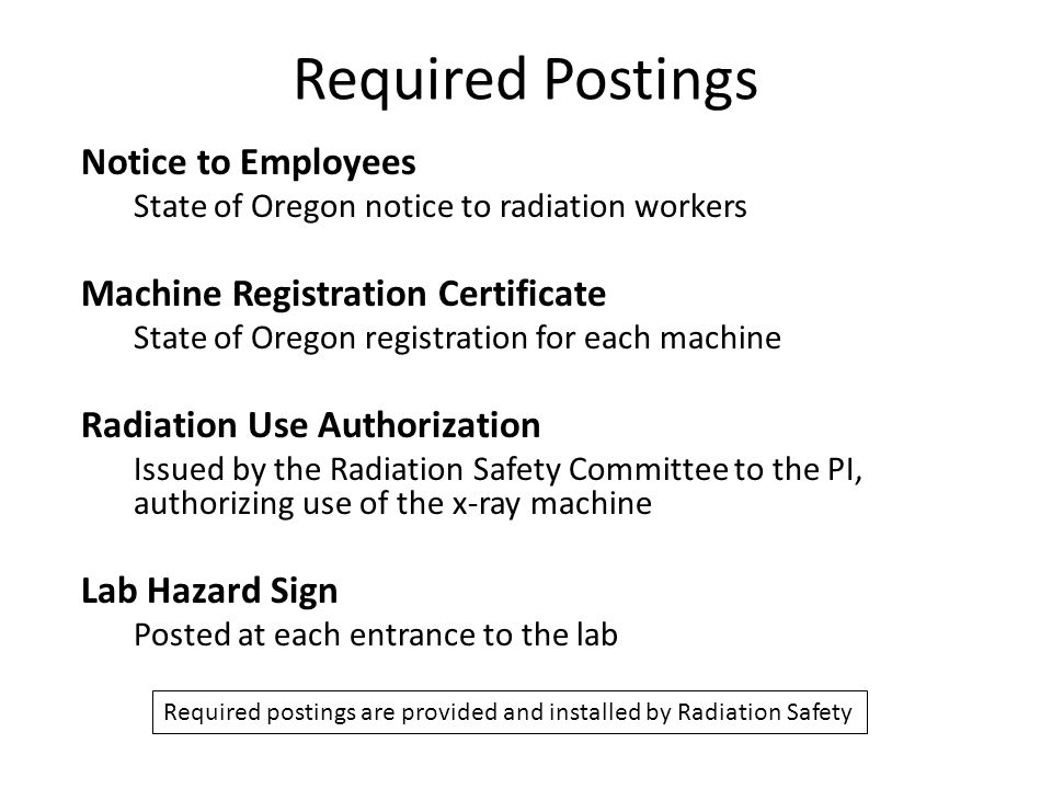 Required Postings Notice to Employees Machine Registration Certificate