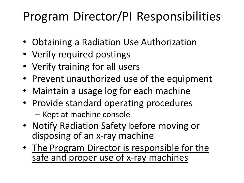 Program Director/PI Responsibilities