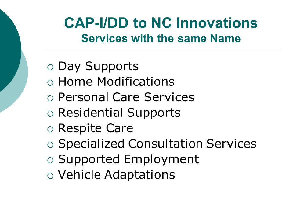 CAP-I/DD to NC Innovations Services with the same Name