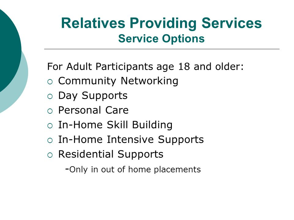 Relatives Providing Services Service Options