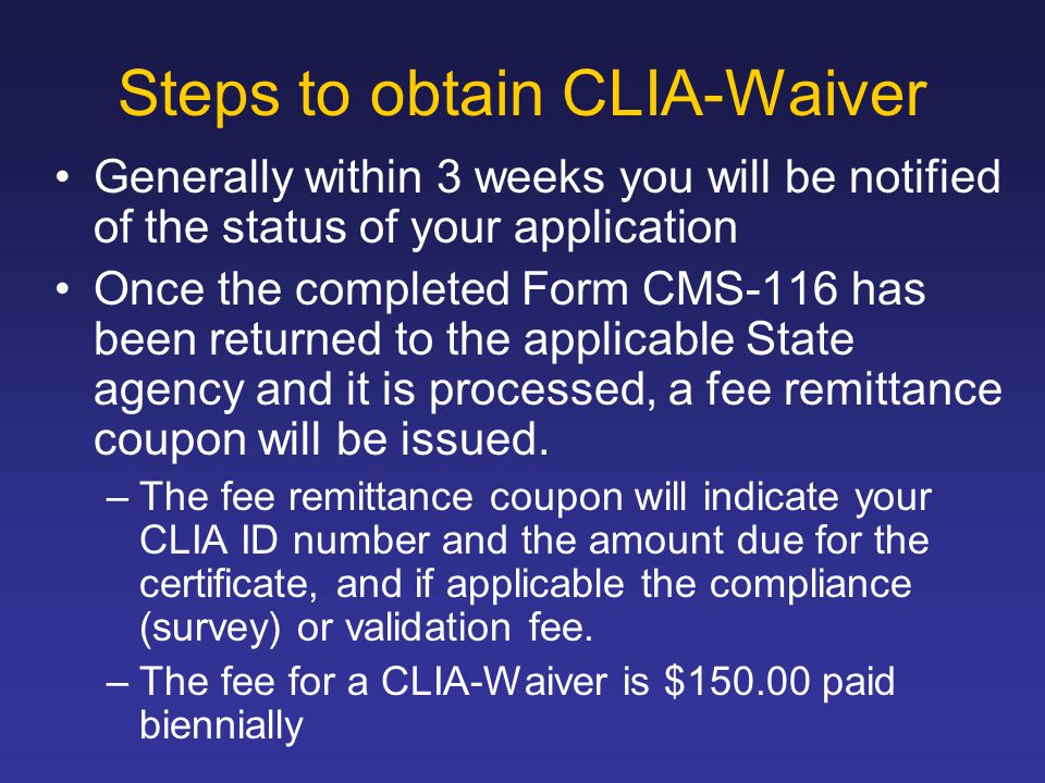 Steps to obtain CLIA-Waiver