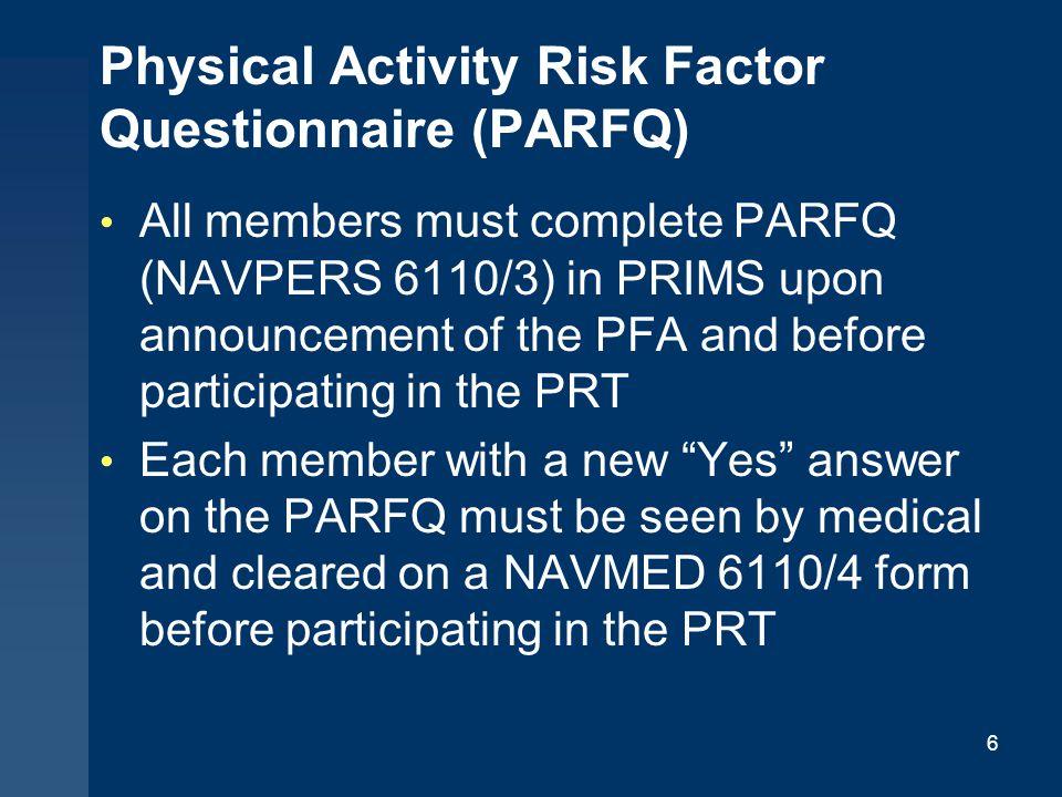 Physical Activity Risk Factor Questionnaire (PARFQ)