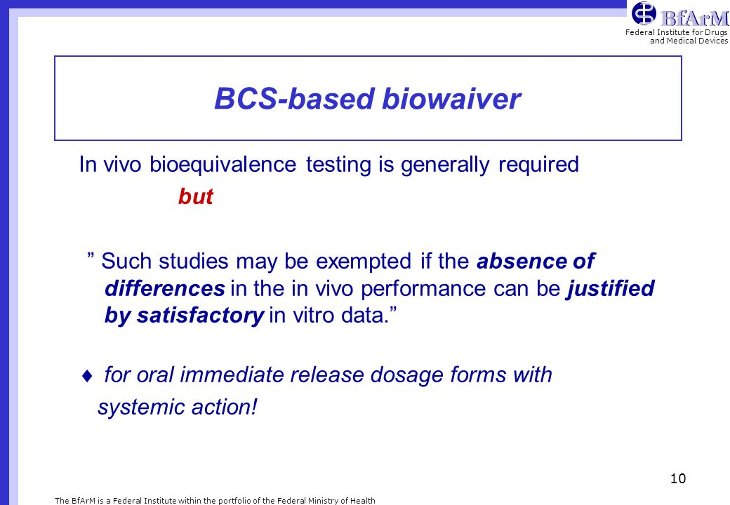 BCS-based biowaiver In vivo bioequivalence testing is generally required. but.