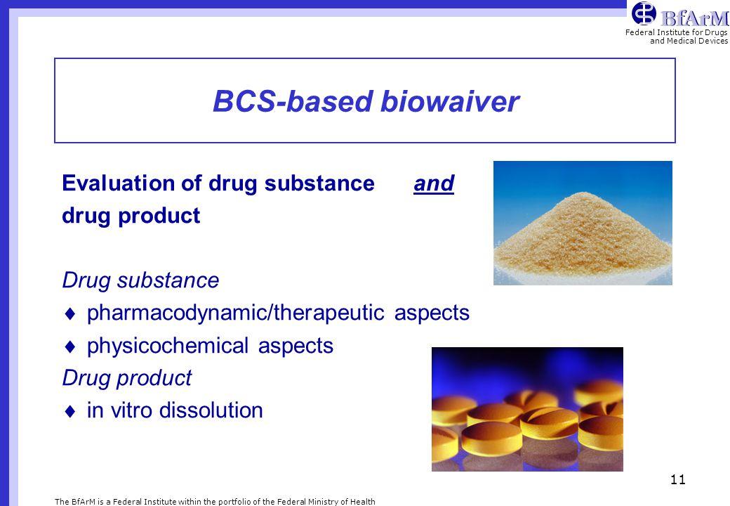 BCS-based biowaiver Evaluation of drug substance and drug product