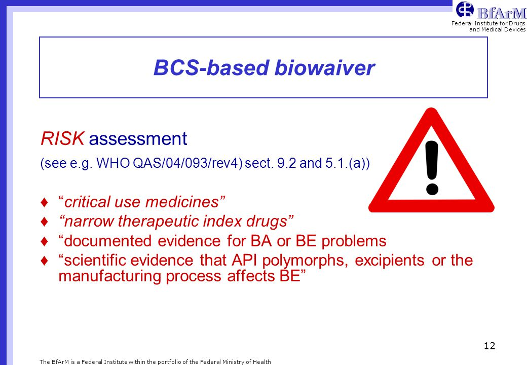 BCS-based biowaiver RISK assessment critical use medicines