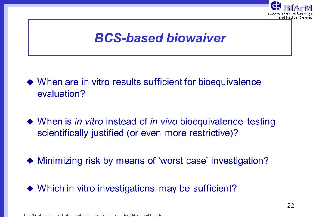 BCS-based biowaiver When are in vitro results sufficient for bioequivalence evaluation