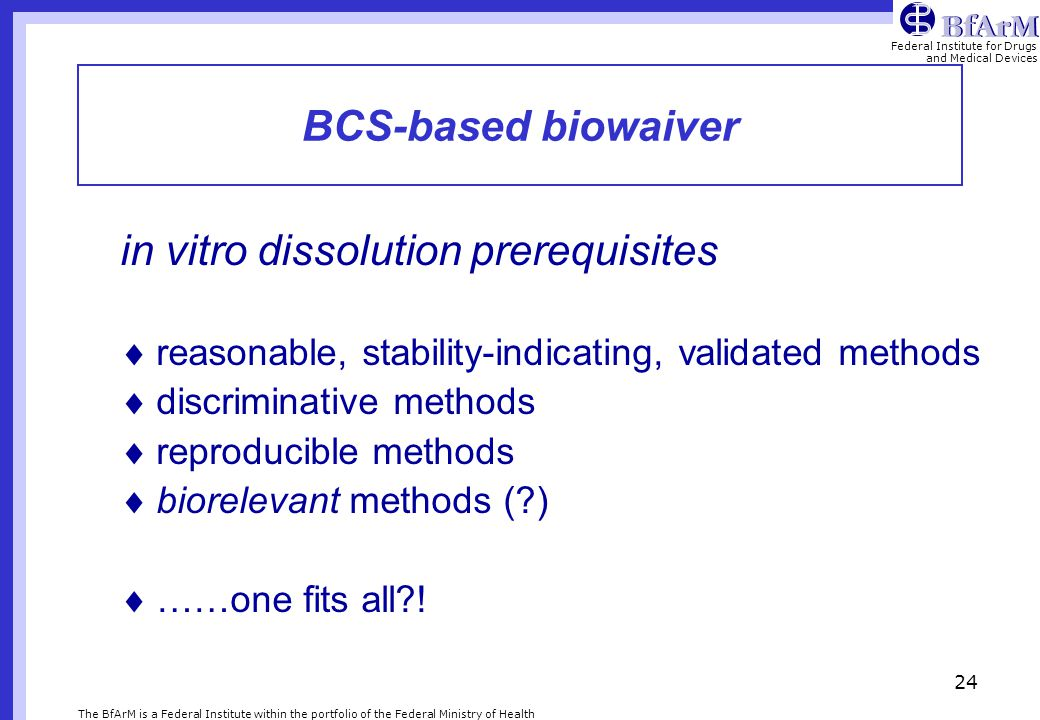 in vitro dissolution prerequisites