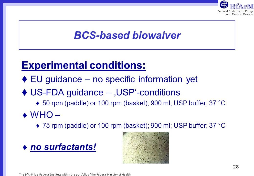 Experimental conditions: