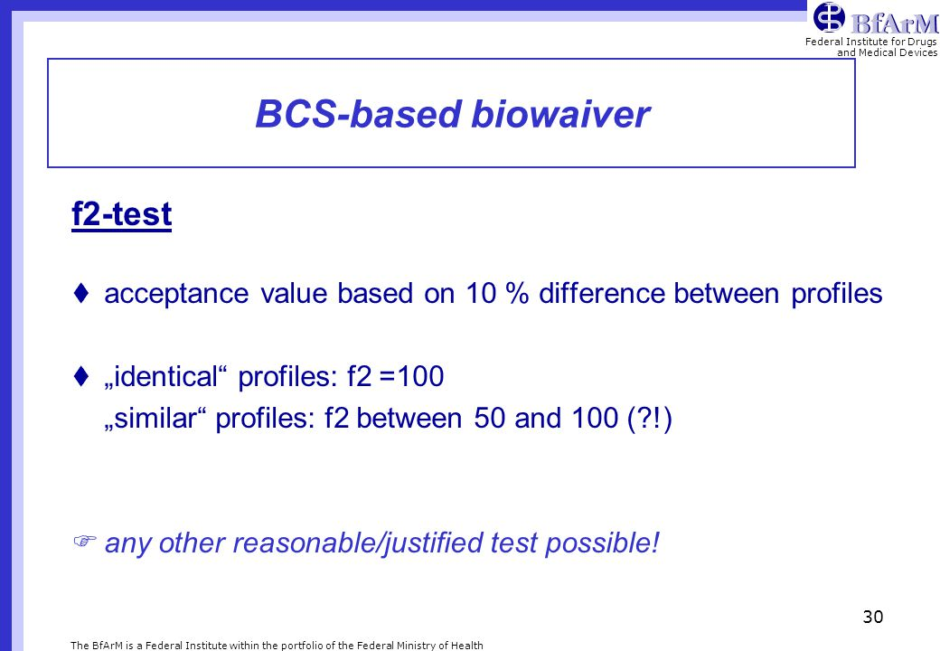 BCS-based biowaiver f2-test