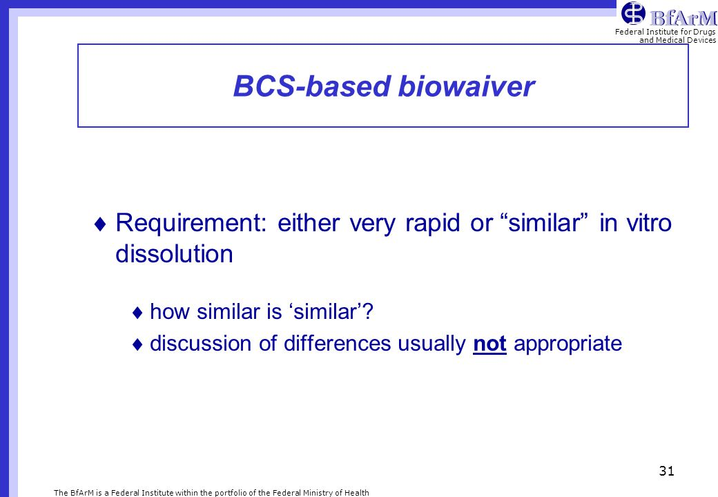 BCS-based biowaiver Requirement: either very rapid or similar in vitro dissolution. how similar is 'similar'