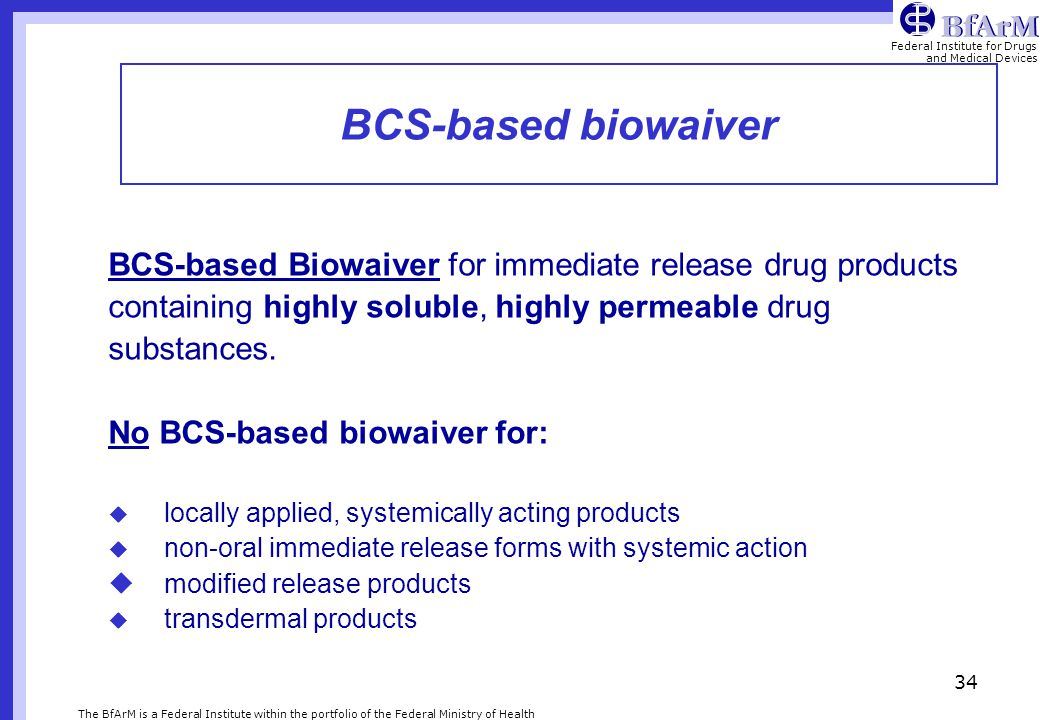 BCS-based biowaiver BCS-based Biowaiver for immediate release drug products. containing highly soluble, highly permeable drug.