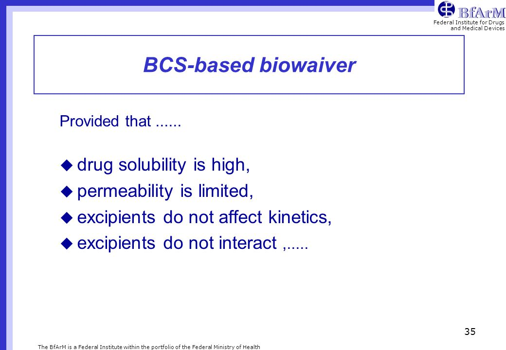 BCS-based biowaiver drug solubility is high, permeability is limited,