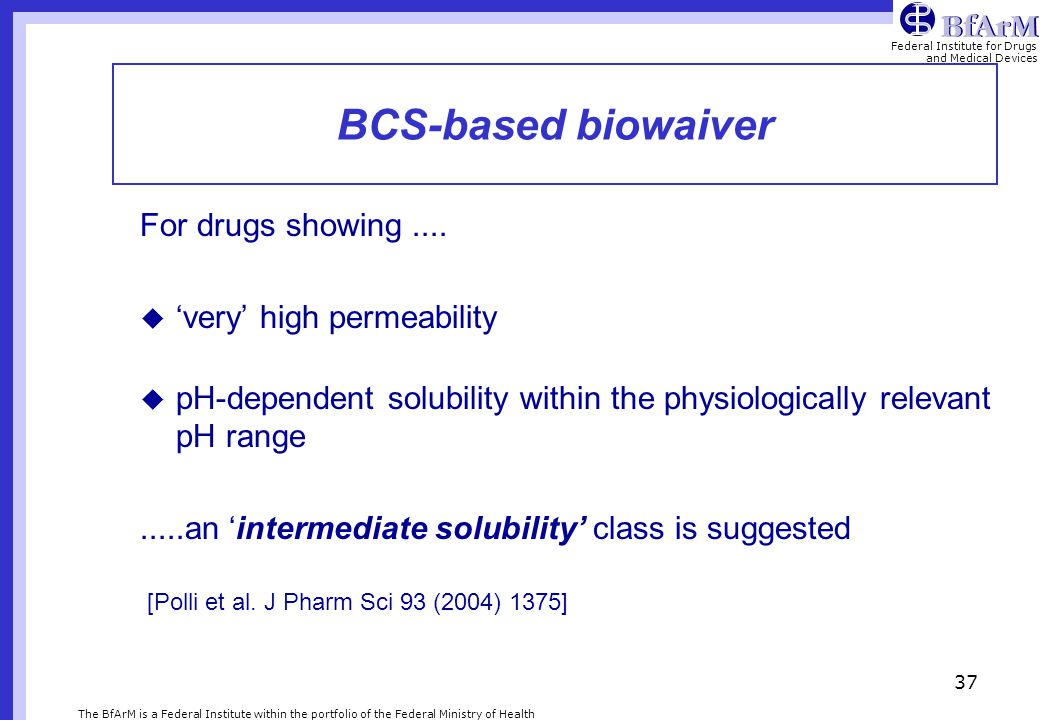 BCS-based biowaiver For drugs showing .... 'very' high permeability