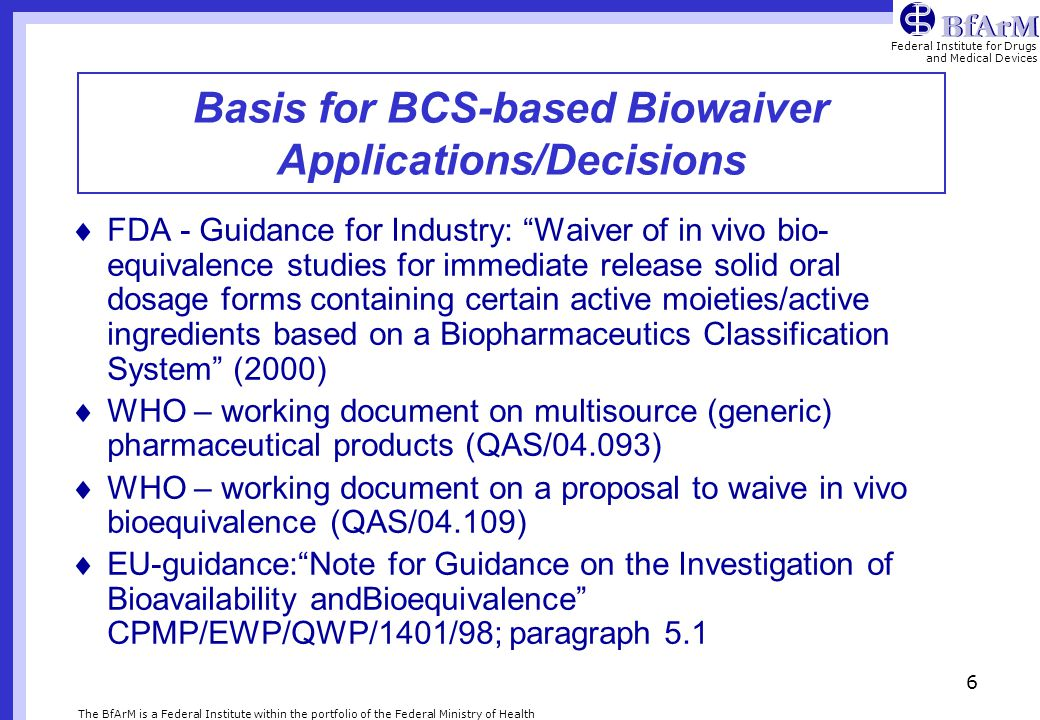 Basis for BCS-based Biowaiver Applications/Decisions