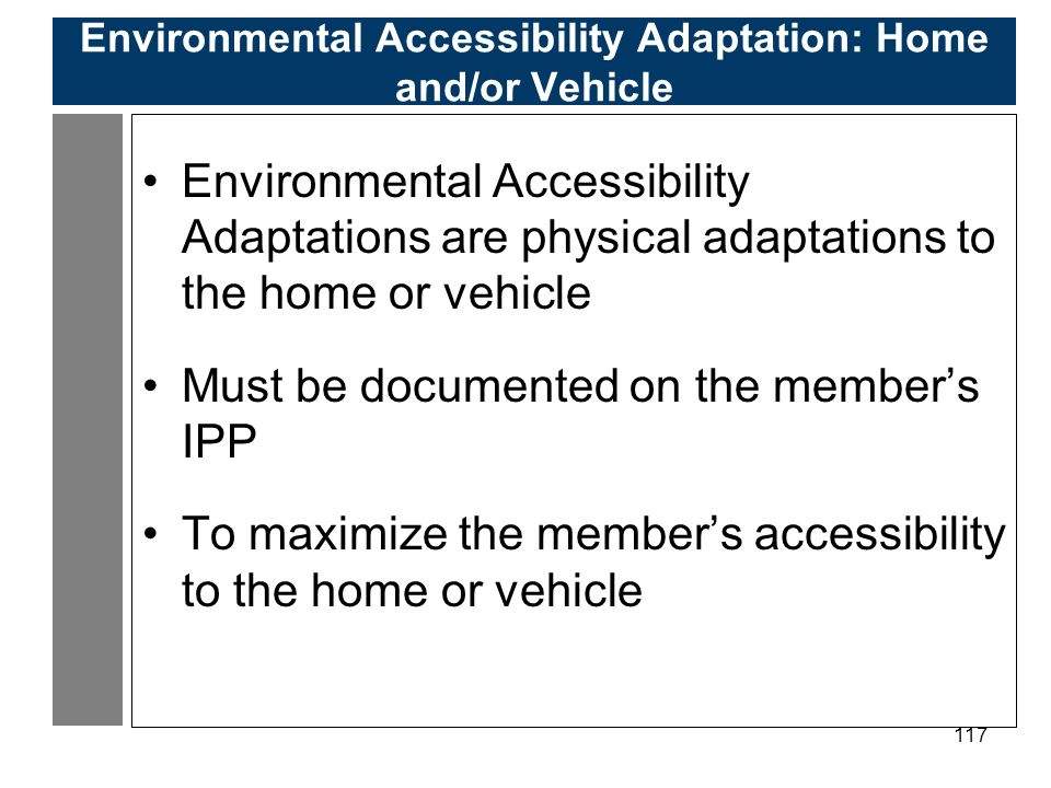 Environmental Accessibility Adaptation: Home and/or Vehicle