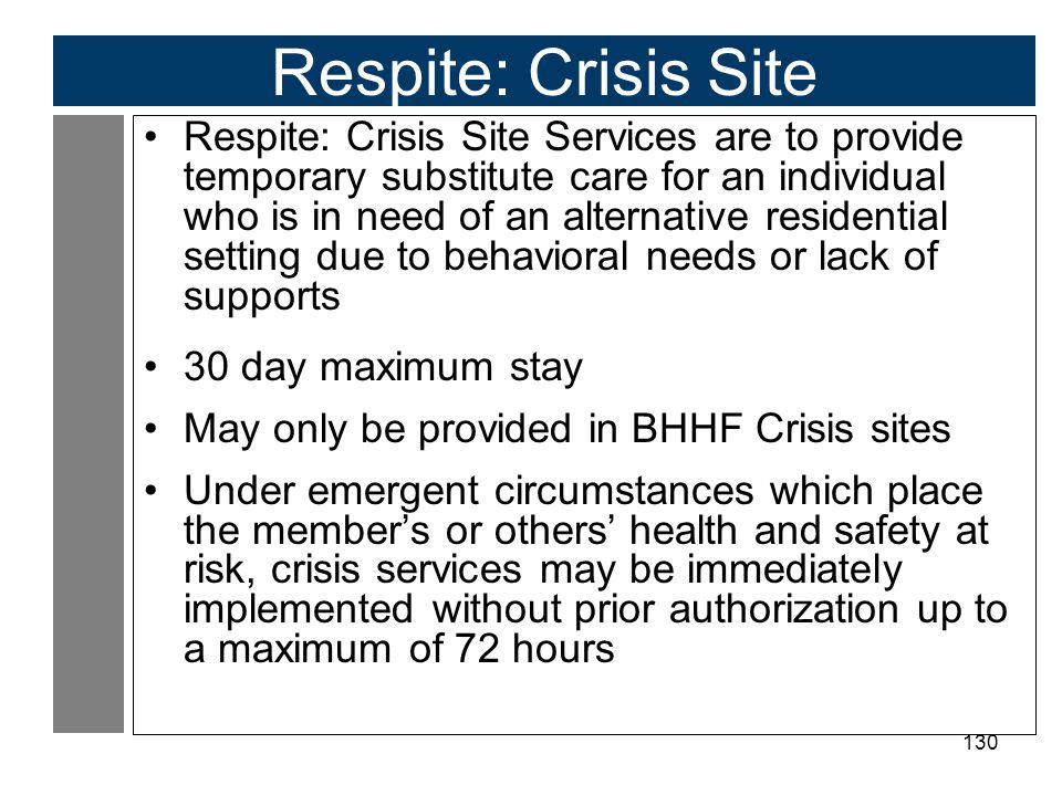 Respite: Crisis Site