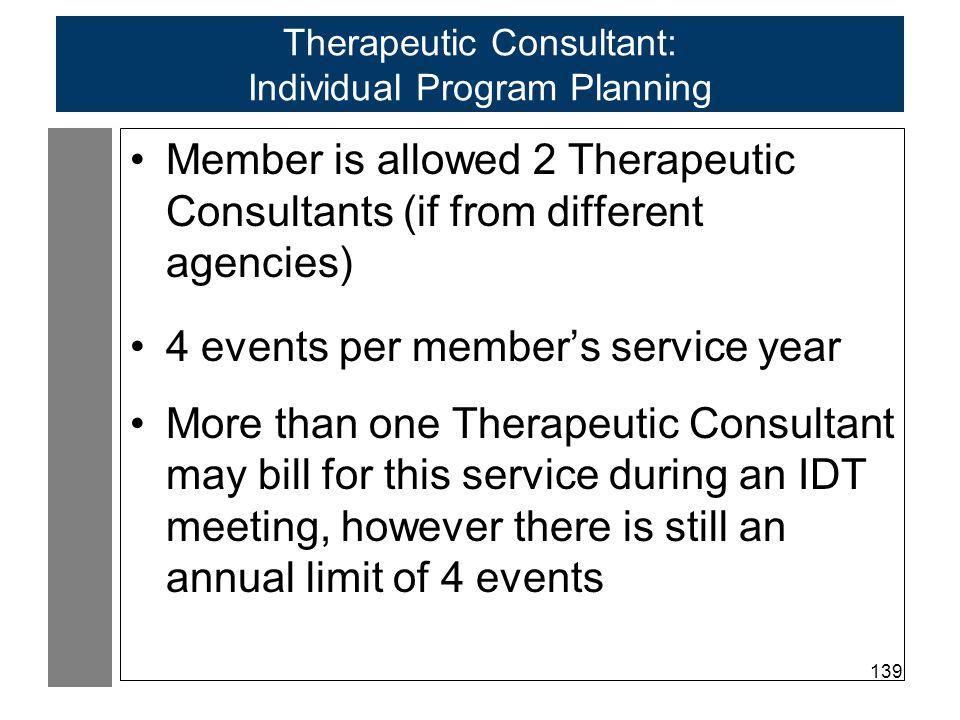 Therapeutic Consultant: Individual Program Planning