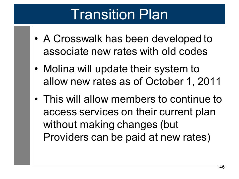Transition Plan A Crosswalk has been developed to associate new rates with old codes.