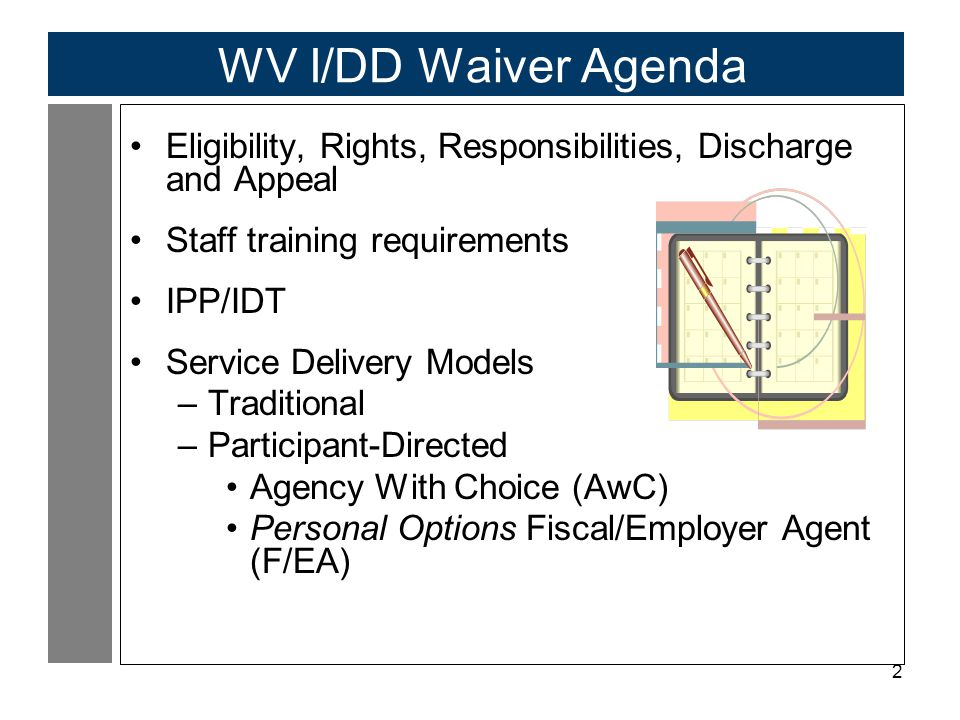 WV I/DD Waiver Agenda Eligibility, Rights, Responsibilities, Discharge and Appeal. Staff training requirements.