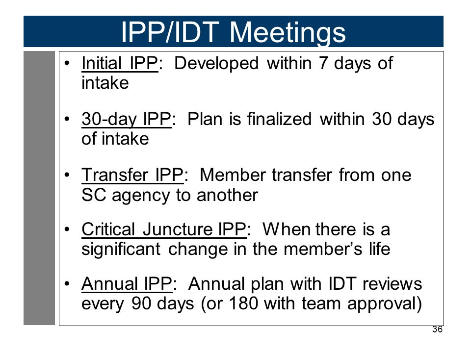 IPP/IDT Meetings Initial IPP: Developed within 7 days of intake