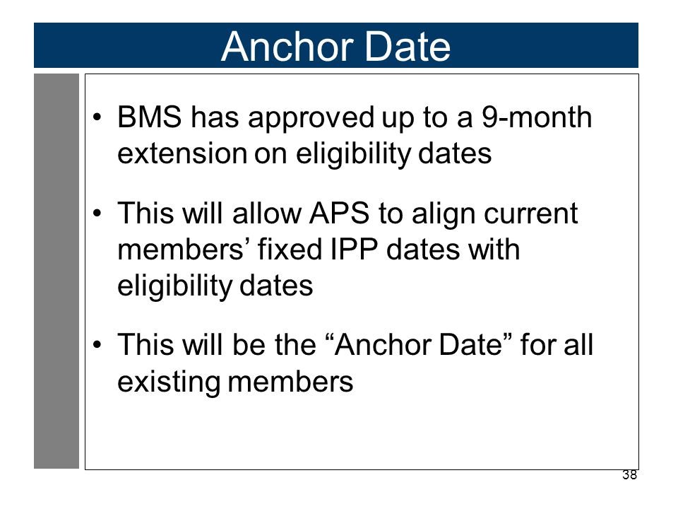 Anchor Date BMS has approved up to a 9-month extension on eligibility dates.