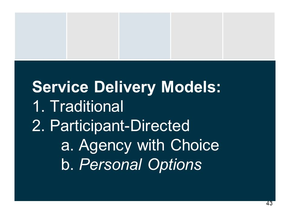 Service Delivery Models: 1. Traditional 2. Participant-Directed. a
