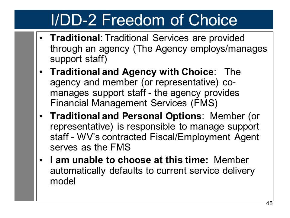 I/DD-2 Freedom of Choice