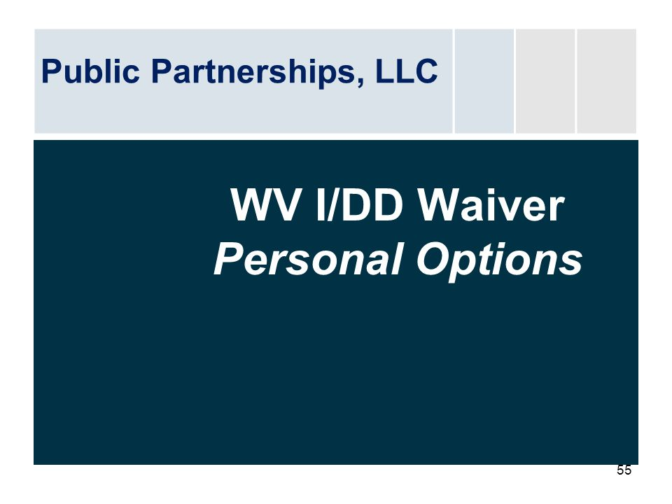 WV I/DD Waiver Personal Options
