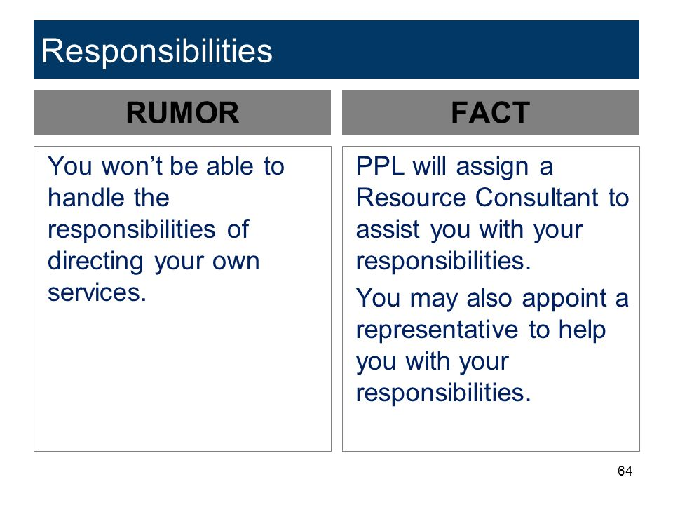 Responsibilities RUMOR FACT