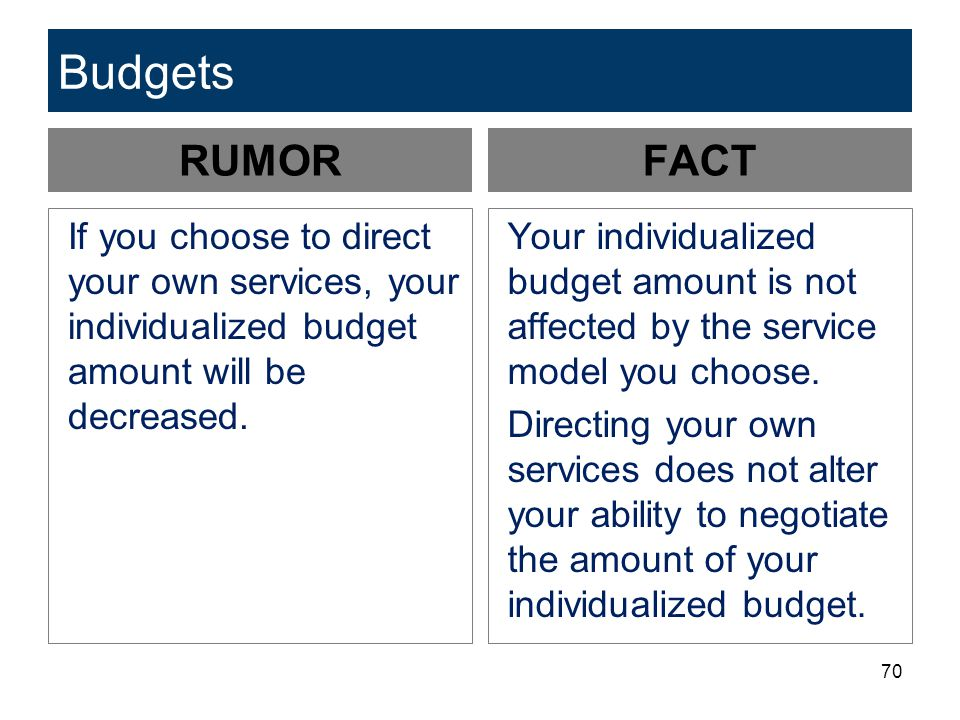 Budgets RUMOR. FACT. If you choose to direct your own services, your individualized budget amount will be decreased.