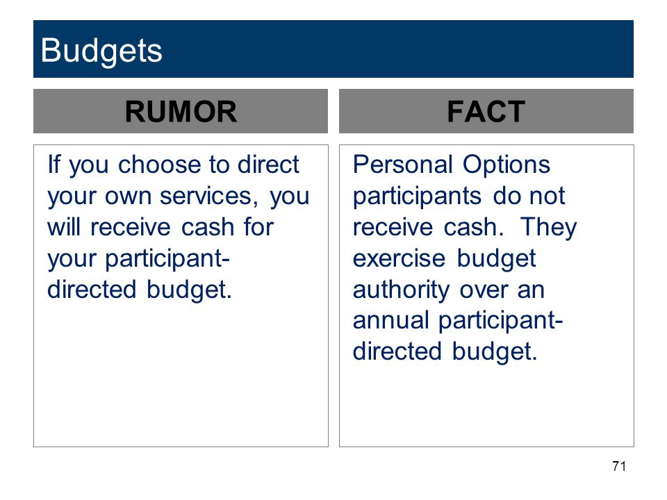 Budgets RUMOR. FACT. If you choose to direct your own services, you will receive cash for your participant-directed budget.