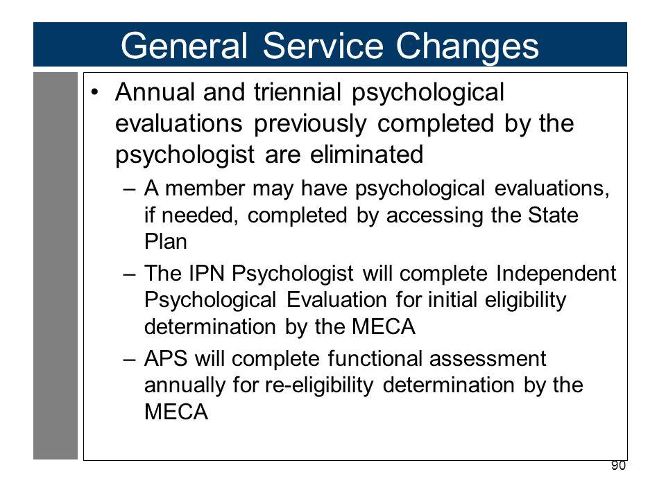 General Service Changes