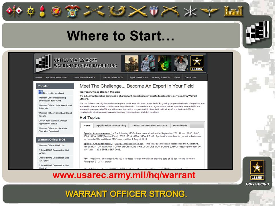 Where to Start… www.usarec.army.mil/hq/warrant