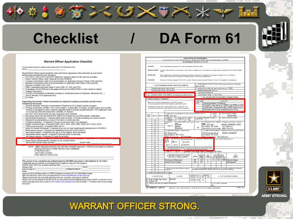 Checklist / DA Form 61