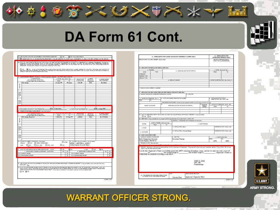 DA Form 61 Cont.