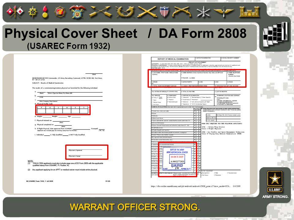 Physical Cover Sheet / DA Form 2808 (USAREC Form 1932)