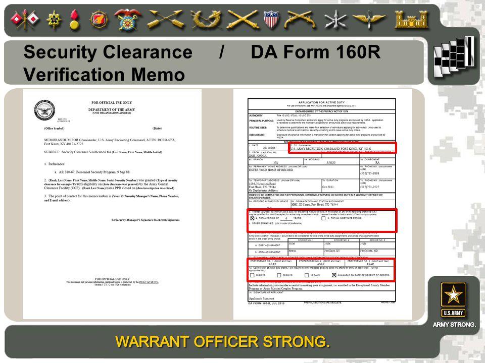 Security Clearance / DA Form 160R Verification Memo