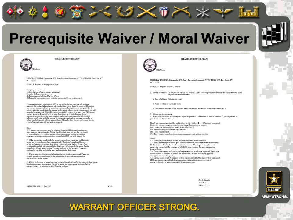 Prerequisite Waiver / Moral Waiver