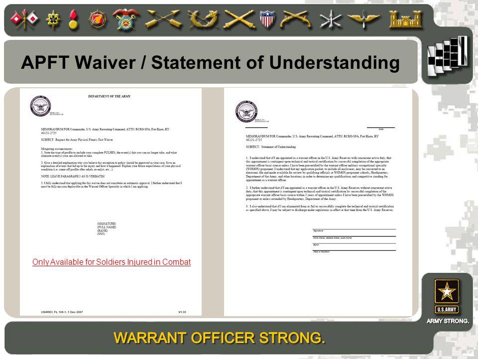 APFT Waiver / Statement of Understanding