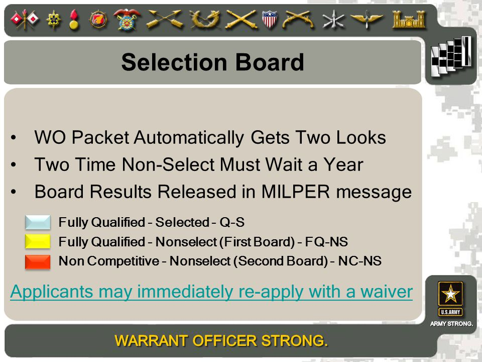 Selection Board WO Packet Automatically Gets Two Looks