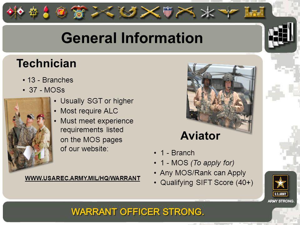 General Information Technician Aviator 13 - Branches 37 - MOSs