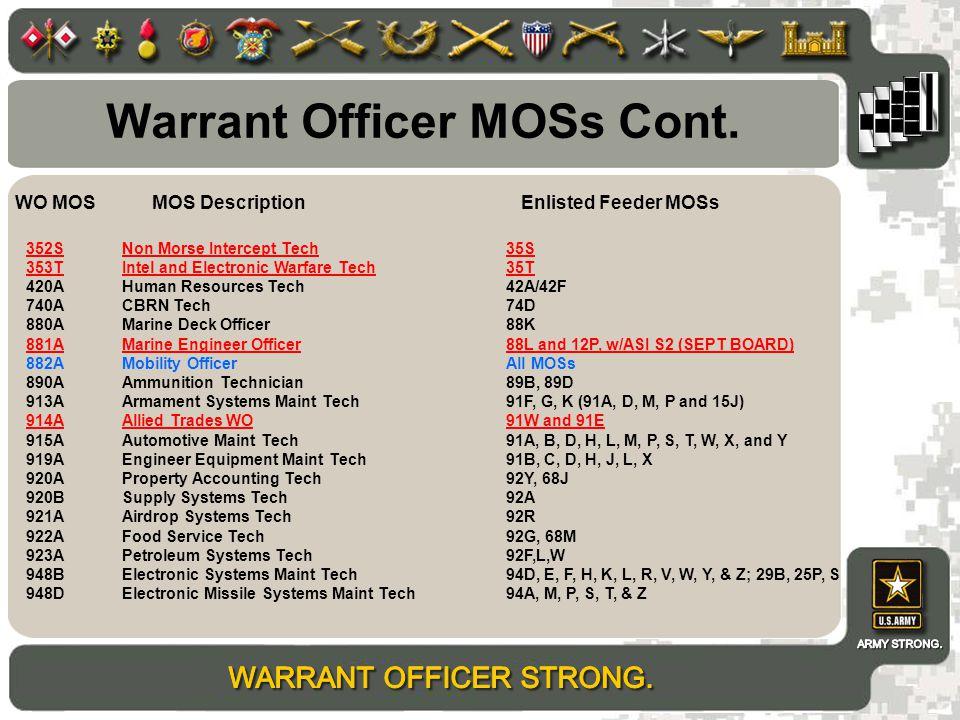 Warrant Officer MOSs Cont.