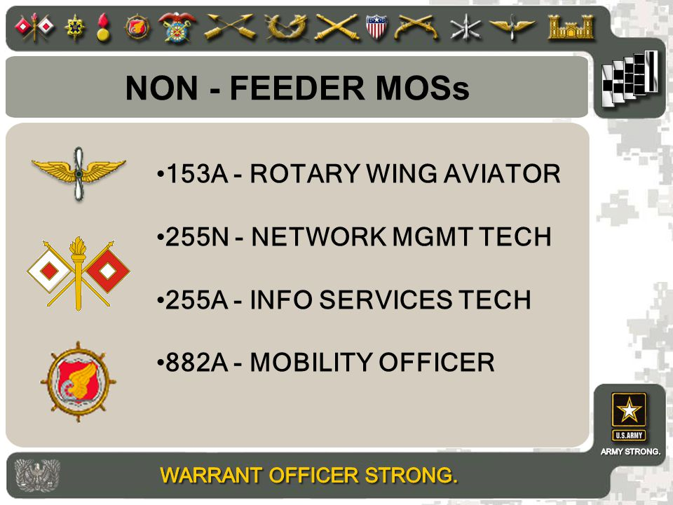 NON - FEEDER MOSs 153A - ROTARY WING AVIATOR 255N - NETWORK MGMT TECH